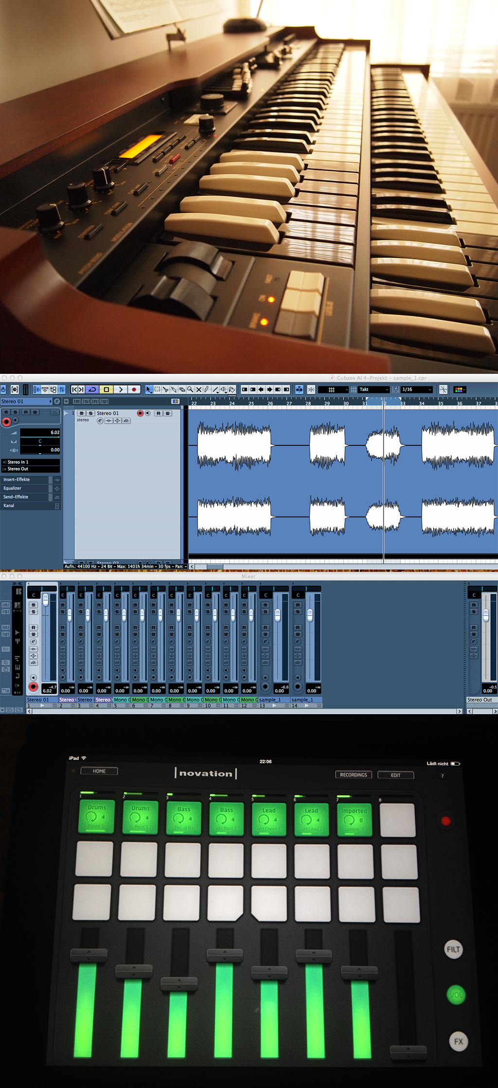 a) come up with a sample on the Hammond, b) record in Cubase, c) import into Launchpad app and groove away!
